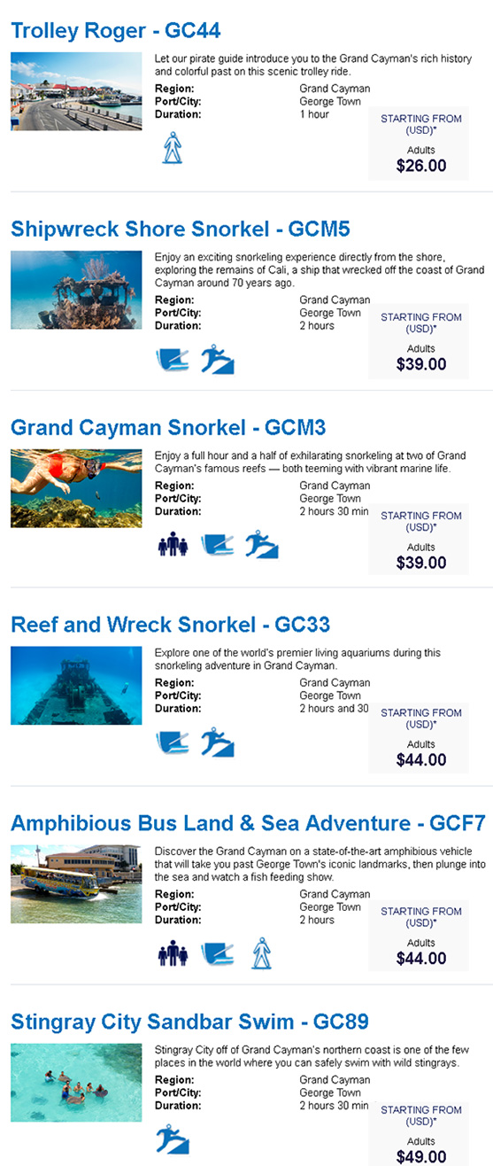 Shore Excursions For George Town Grand Cayman Western